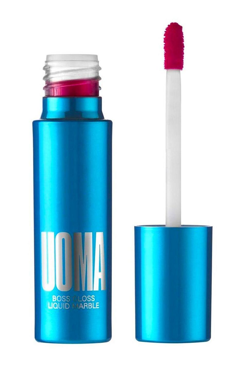 """<p><strong>UOMA Beauty</strong></p><p>ulta.com</p><p><strong>$22.00</strong></p><p><a href=""""https://go.redirectingat.com?id=74968X1596630&url=https%3A%2F%2Fwww.ulta.com%2Fp%2Fboss-gloss-liquid-marble-pimprod2006205&sref=https%3A%2F%2Fwww.cosmopolitan.com%2Fstyle-beauty%2Fbeauty%2Fg12447782%2Fbest-lip-gloss%2F"""" rel=""""nofollow noopener"""" target=""""_blank"""" data-ylk=""""slk:Shop Now"""" class=""""link rapid-noclick-resp"""">Shop Now</a></p><p>Listen, I get it: Lip gloss isn't like <a href=""""https://www.cosmopolitan.com/style-beauty/beauty/g26099200/best-matte-lipstick-colors/"""" rel=""""nofollow noopener"""" target=""""_blank"""" data-ylk=""""slk:matte lipstick"""" class=""""link rapid-noclick-resp"""">matte lipstick</a>—it's not going to stay on your lips forever. But there's nothing worse than reapplying your lip gloss every 30 minutes. Thankfully, you don't have to stress about that with this one. It creates a <strong>long-lasting layer of color on your lips that doesn't crack or settle into fine lines</strong>. </p>"""