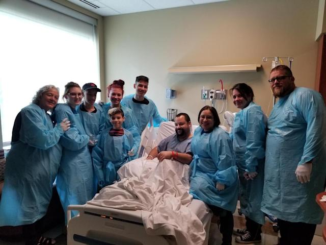 William Thompson of Texas was hospitalized with a serious bacterial infection two days before his son's wedding. So the couple wed in his hospital room. (Photo: Courtesy of Baylor Scott & White Health)
