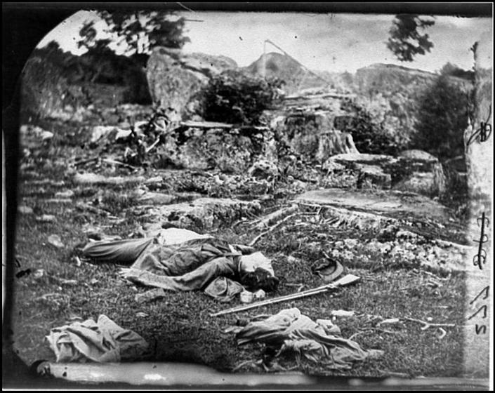 """<span class=""""caption"""">The contested 1860 presidential election led to the Civil War, where 600,000 died, including these Confederate soldiers at in Gettysburg's 'the devil's den,' June or July 1863.</span> <span class=""""attribution""""><a class=""""link rapid-noclick-resp"""" href=""""https://www.loc.gov/resource/cwp.4a39439/"""" rel=""""nofollow noopener"""" target=""""_blank"""" data-ylk=""""slk:Alexander Gardner, photographer/Library of Congress Prints and Photographs Division"""">Alexander Gardner, photographer/Library of Congress Prints and Photographs Division</a></span>"""