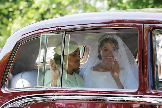 <p>Meghan Markle traveled to Windsor Castle with her mother Doria in a vintage Rolls Royce Phantom. (Photo: Getty) </p>