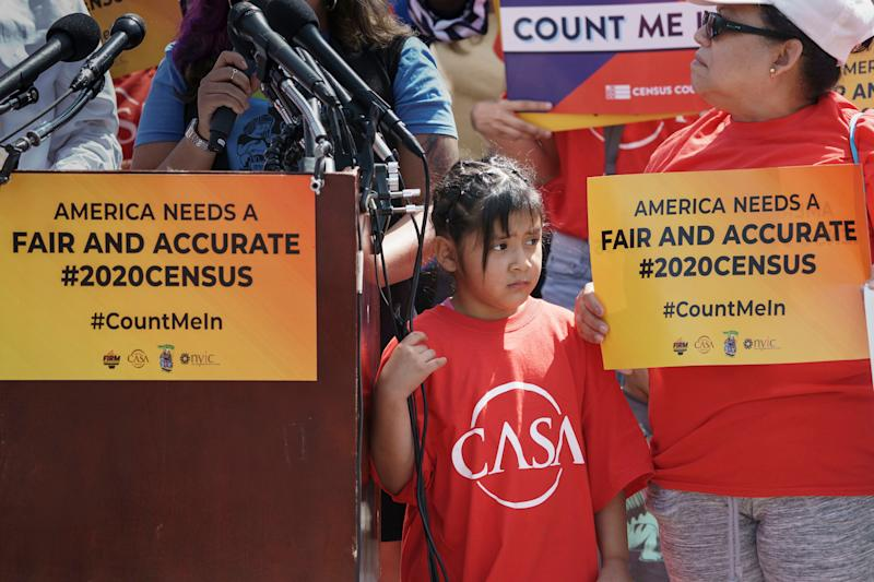 IImmigration activists rally outside the Supreme Court as the justices hear arguments over the Trump administration's plan to ask about citizenship on the 2020 census, in Washington, Tuesday, April 23, 2019. Critics say the citizenship question on the census will inhibit responses from immigrant-heavy communities that are worried the information will be used to target them for possible deportation. (Photo: J. Scott Applewhite/AP)