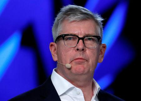 FILE PHOTO: Ericsson Chief Executive Officer Borje Ekholm holds a news conference during the Mobile World Congress in Barcelona, Spain February 26, 2018. REUTERS/Yves Herman/File Photo