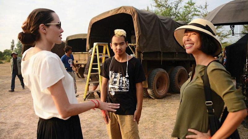 Maddox and Angelina Jolie on set of <i>First They Killed My Father</i>. Source: Netflix