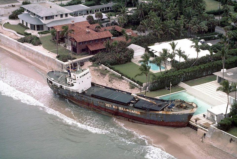 "<p>Florida residents woke up to a nasty nor'easter on Thanksgiving Day in 1984. The November winter storm<span class=""redactor-invisible-space""> beached the </span>freighter Mercedes I alongside a home in Palm Beach, where it remained for several months before it was removed. We'll never complain about guests overstaying their welcome again. </p>"