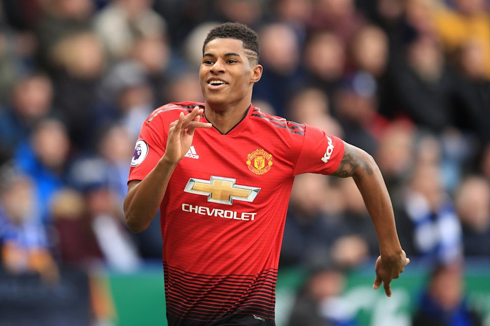 LEICESTER, ENGLAND - FEBRUARY 03: Marcus Rashford of Manchester United celebrates scoring their 1st goal during the Premier League match between Leicester City and Manchester United at The King Power Stadium on February 3, 2019 in Leicester, United Kingdom. (Photo by Marc Atkins/Getty Images)