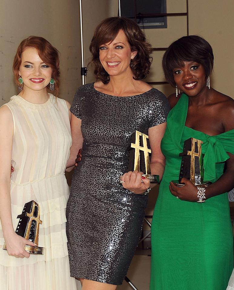 """<a href=""""http://movies.yahoo.com/movie/contributor/1809635883"""">Emma Stone</a>, <a href=""""http://movies.yahoo.com/movie/contributor/1800018559"""">Allison Janney</a> and <a href=""""http://movies.yahoo.com/movie/contributor/1800315745"""">Viola Davis</a> at the 15th Annual Hollywood Film Awards in Beverly Hills, California on October 24, 2011."""