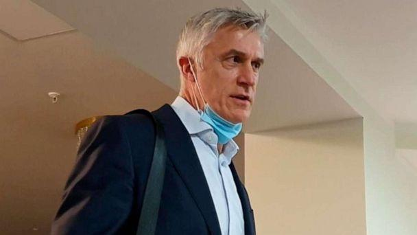 PHOTO: In this handout video grab, Michael Calvey, the founder of the Baring Vostok investment fund who is suspected of embezzling money from a bank, talks to the media after the Supreme Court released him from house arrest, in Moscow, Nov. 12, 2020. (Sputnik via AP)