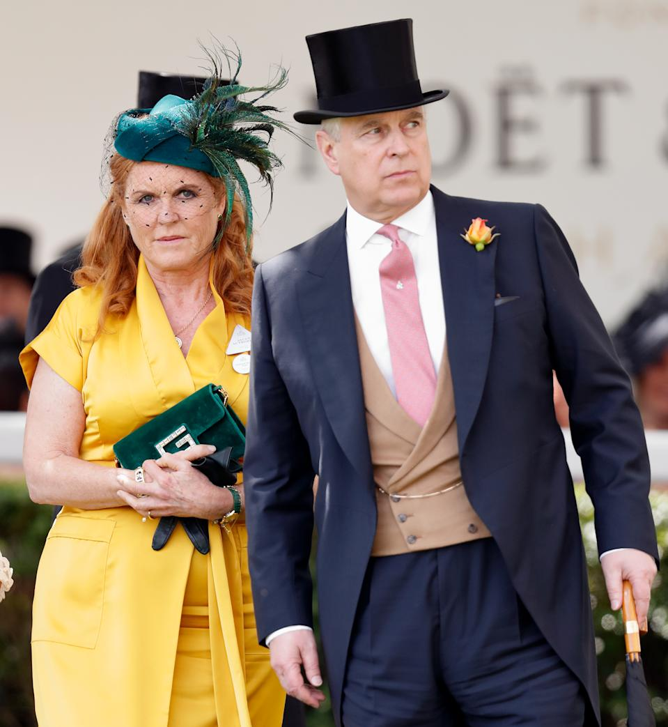 Sarah Ferguson, Duchess of York and Prince Andrew, Duke of York attend day four of Royal Ascot at Ascot Racecourse on June 21, 2019 in Ascot, England.