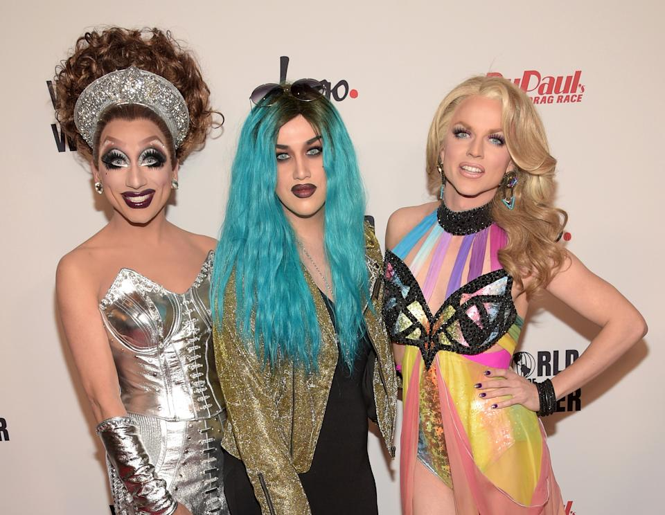Bianca Del Rio, Adore Delano and Courtney Act attend RuPaul's Drag Race Reunion/Finale, Courtesy Logo / WOW, at Orpheum Theatre on May 19, 2015 in Los Angeles, California. (Photo by Jason Kempin/Getty Images for Logo TV)