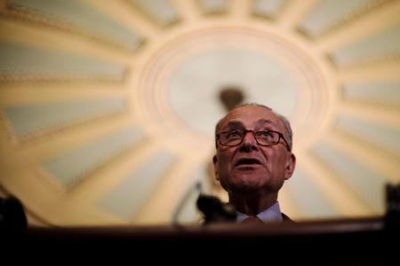 U.S. Senate Minority Leader Chuck Schumer (D-NY) speaks to reporters at the Capitol as fallout continued over U.S. President Donald Trump's Helsinki summit with Russian President Vladimir Putin, in Washington, U.S., July 17, 2018. REUTERS/James Lawler Duggan