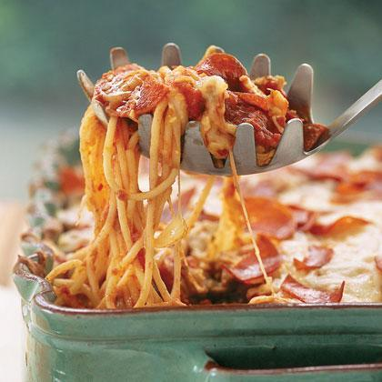 """<p><strong>Recipe: <a href=""""https://www.southernliving.com/syndication/pizza-spaghetti-casserole"""" rel=""""nofollow noopener"""" target=""""_blank"""" data-ylk=""""slk:Pizza Spaghetti Casserole"""" class=""""link rapid-noclick-resp"""">Pizza Spaghetti Casserole</a></strong></p> <p>If the kids ask what's for dinner and you say pizza, they're excited. If they ask what's for dinner and you say spaghetti, they're excited. If they ask what's for dinner and you say pizza spaghetti, they're ecstatic. To make ahead, freeze the unbaked casserole for up to one month. Thaw overnight in the refrigerator, let stand 30 minutes at room temperature, and bake as directed.</p>"""