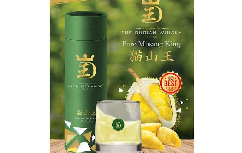 The whisky is made from premium Musang King durian using a patented fermentation technology. — Picture via Facebook/durianwhisky