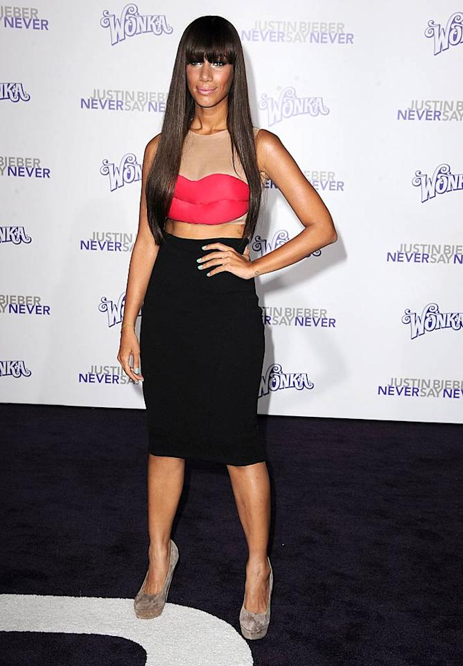 """Look what Leona Lewis wore to the Los Angeles premiere of """"Justin Bieber: Never Say Never."""" Bizarre, right? How 'bout this: Never say """"yes"""" to a hairstyle that resembles a wig or to a top that should never have been made. Steve Granitz/<a href=""""http://www.wireimage.com"""" target=""""new"""">WireImage.com</a> - February 8, 2011"""