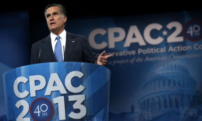 Mitt Romney speaks at the 40th annual Conservative Political Action Conference on Friday — his first public speech since Election Night.