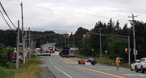Traffic being stopped at the scene of the accident on Route 4 in Howie Centre. (Submitted by Joan Weeks - image credit)