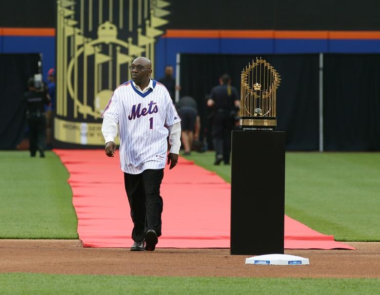 Mookie Wilson during 1986 World Series ceremony at Citi Field