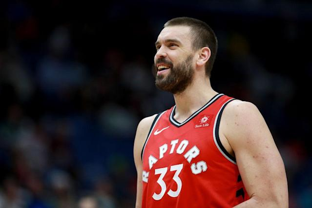 Marc Gasol could be in line to receive the bulk of the center work in Toronto with Ibaka undoubtedly getting a suspension. (Photo by Sean Gardner/Getty Images)