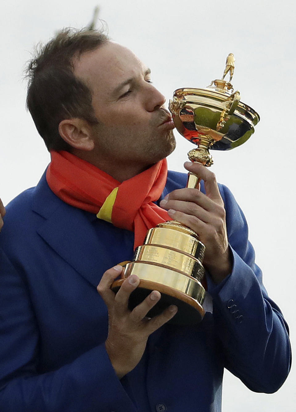 FILE - In this Sept. 30, 2018, file photo, Europe's Sergio Garcia kisses the trophy after Europe won the Ryder Cup on the final day of the 42nd Ryder Cup at Le Golf National in Saint-Quentin-en-Yvelines, outside Paris, France. Garcia has the highest points total in Ryder Cup history with 25 1/2 points. The pandemic-delayed 2020 Ryder Cup returns the United States next week at Whistling Straits along the Wisconsin shores of Lake Michigan. (AP Photo/Matt Dunham, File)