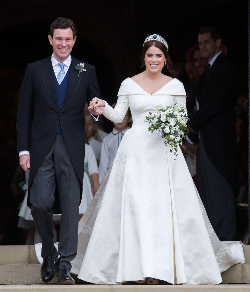 """<p>Just like her mom's beautiful gown years before, <a href=""""https://www.goodhousekeeping.com/beauty/fashion/g23722822/princess-eugenie-royal-wedding-dressess/"""" rel=""""nofollow noopener"""" target=""""_blank"""" data-ylk=""""slk:Eugenie's own gown"""" class=""""link rapid-noclick-resp"""">Eugenie's own gown </a>featured hidden meaning in its lovely fabric, <a href=""""https://www.royal.uk/wedding-princess-eugenie-and-jack-brooksbank-wedding-dress-and-bridal-party-outfits"""" rel=""""nofollow noopener"""" target=""""_blank"""" data-ylk=""""slk:according to a palace statement"""" class=""""link rapid-noclick-resp"""">according to a palace statement</a>. </p>"""
