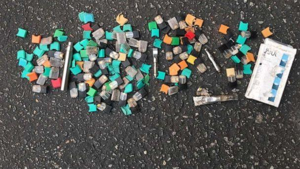 PHOTO: A photo shows cartridges from vaping devices collected by researcher Jeremiah Mock in a student parking lot in the San Francisco area in September 2019. (Courtesy Jeremiah Mock)