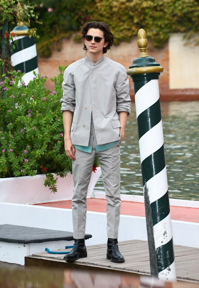 WHAT: Haider Ackermann<br> WHERE: Venice Film Festival<br> WHEN: September 2, 2019<br> WHY: Timothée Chalamet is here from the future to put our casual-wear game to shame.
