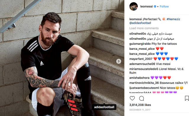 Bootiful: Messi cashes in with posts like this on social media