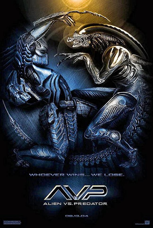 """<p>The movie's tagline was depressingly on the money – """"Whoever wins… we lose"""" indeed – but at least the poster made it look like a match-up worth waiting for. For years, fans had clamoured to see the two biggest alien badasses from across the cinematic galaxy fighting each other, and this poster gave us a hint of what we might expect. Unfortunately, 'Alien Vs Predator' came across like a slightly more polished version of internet fan fiction. We'll have to make do with this hieroglyphic-style face-off and imagine what could have been. </p>"""