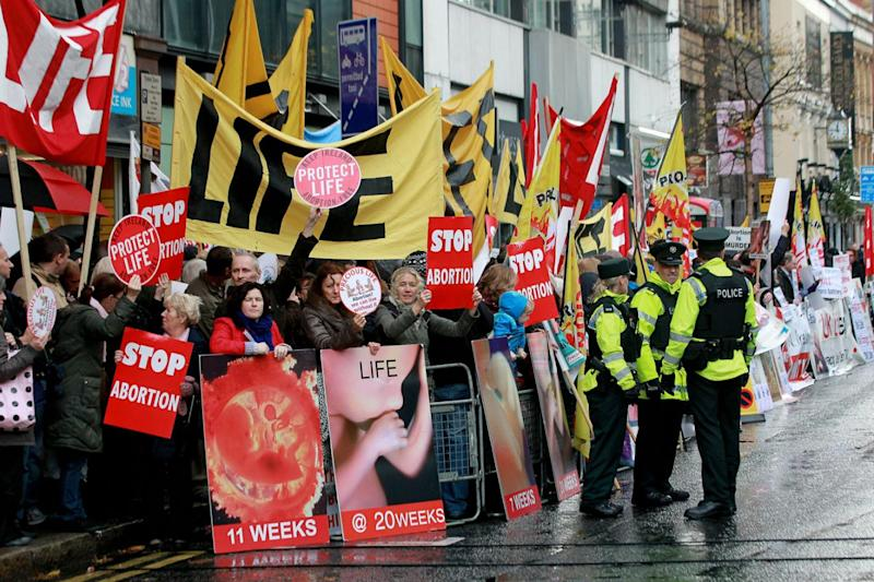 Pro-life campaigners outside the Marie Stopes clinic in Northern Ireland, the first private clinic to offer abortions to women in Belfast. (Peter Muhly/AFP/Getty Images)