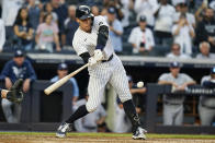 New York Yankees' Aaron Judge hits a game winning RBI single during the ninth inning of a baseball game against the Tampa Bay Rays Sunday, Oct. 3, 2021, in New York. The Yankees won 1-0. (AP Photo/Frank Franklin II)