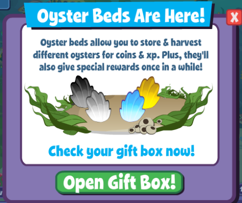 New Oyster Bed Feature shows up in FishVille