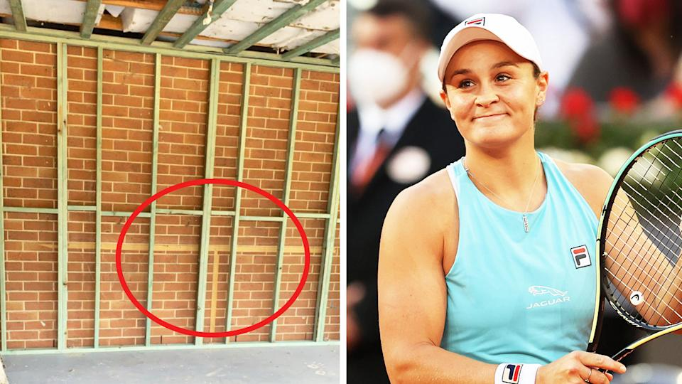 World No.1 Ash Barty (pictured right) smiling after a victory and (pictured right) a photo of her old make-shift tennis court.
