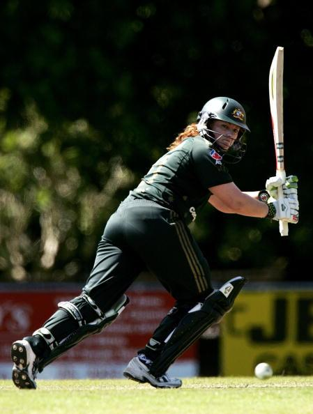 DARWIN, AUSTRALIA - JULY 29:  Karen Rolton of Australia plays a shot off her pads during the fifth Rose Bowl Series match between the Australia Southern Stars and the New Zealand White Ferns at Gardens Oval on July 29, 2007 in Darwin, Australia.  (Photo by Quinn Rooney/Getty Images)