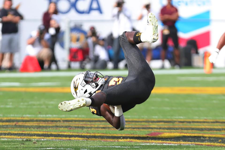 Arizona State RB Eno Benjamin's season has been turned upside down with a tough stretch in recent games. (Photo by Leon Bennett/Getty Images)