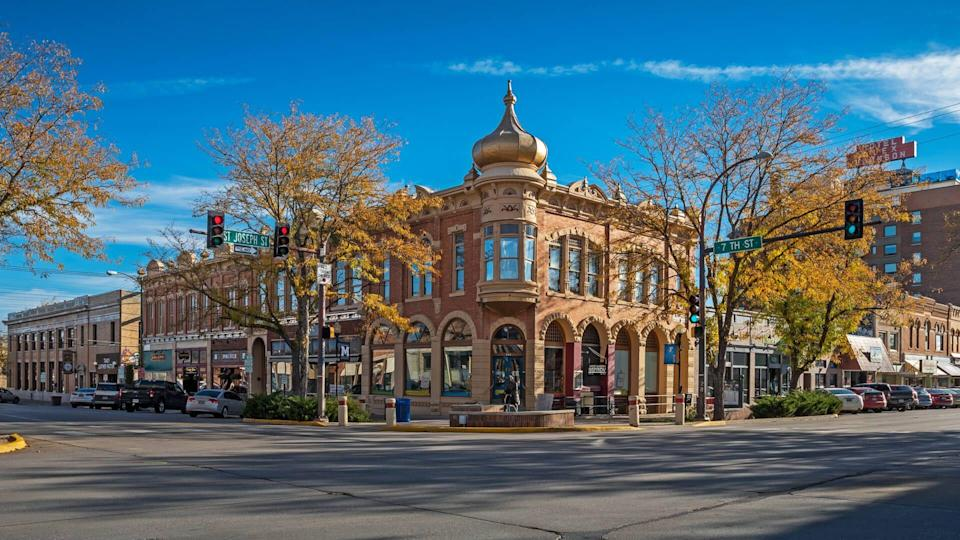 Rapid City, South Dakota, USA - October 06, 2018:  Street scene of downtown Rapid City with buildings and businesses.