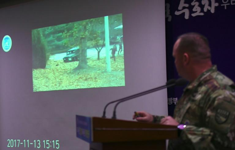 UN Command spokesman Colonel Chad Carroll showed surveillance footage of the dramatic defection