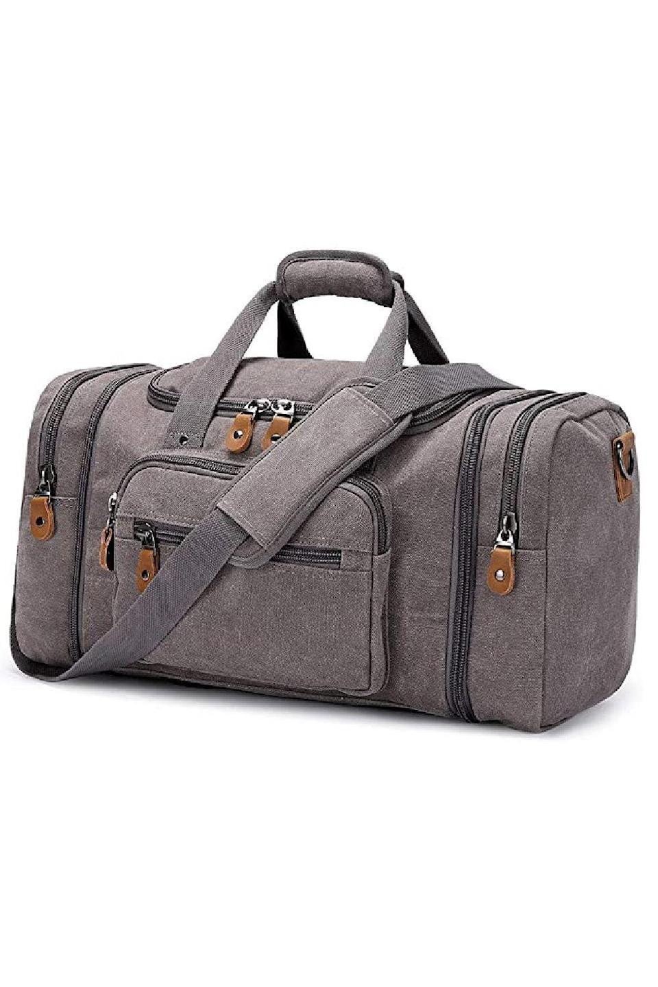 """<p><strong>Plambag</strong></p><p>amazon.com</p><p><strong>$38.99</strong></p><p><a href=""""https://www.amazon.com/dp/B01EWPIOEM?tag=syn-yahoo-20&ascsubtag=%5Bartid%7C10049.g.5199%5Bsrc%7Cyahoo-us"""" rel=""""nofollow noopener"""" target=""""_blank"""" data-ylk=""""slk:Shop Now"""" class=""""link rapid-noclick-resp"""">Shop Now</a></p><p>This extendable duffel bag is super roomy inside but still has a compact silhouette. It's got over 7k positive reviews and once the lucky recipient gets a feel for how functional it is, they'll understand why.</p>"""