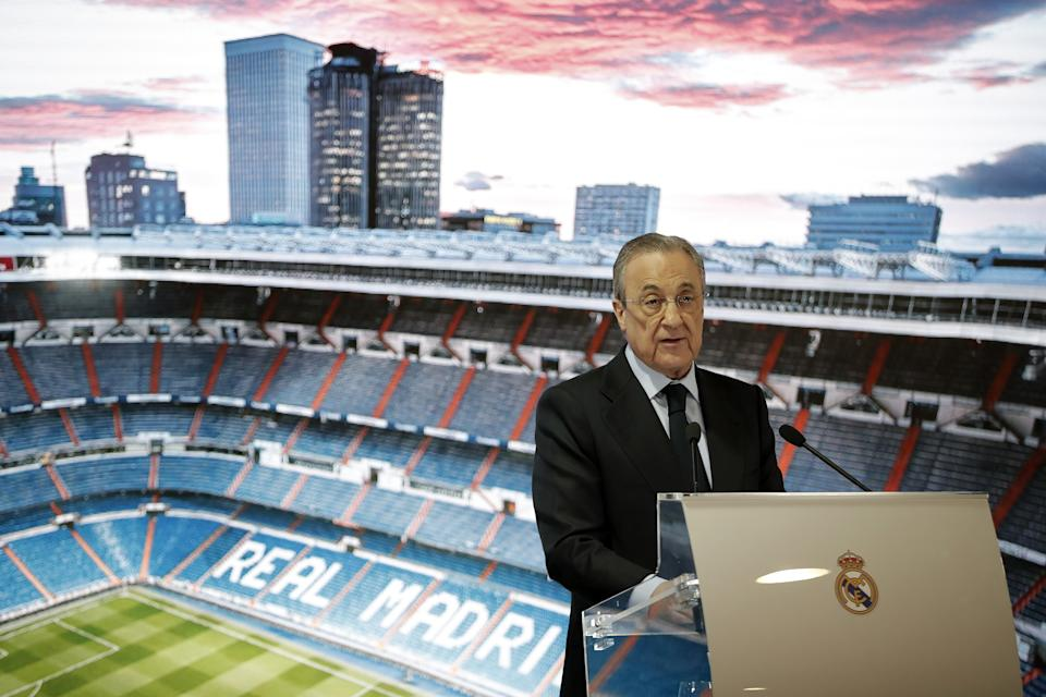 MADRID, SPAIN - FEBRUARY 18: President of Real Madrid Club Florentino Perez makes a speech during a presentation ceremony of Real Madrid's new signing 18-year-old Brazilian footballer Reinier Jesus Carvalho at Santiago Bernabeu Stadium in Madrid, Spain on February 18, 2020. (Photo by Burak Akbulut/Anadolu Agency via Getty Images)