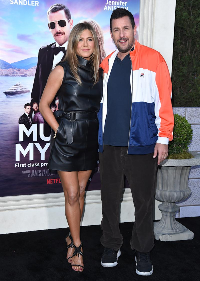 Aniston and co-star Adam Sandler. (Photo by Axelle/Bauer-Griffin/FilmMagic)