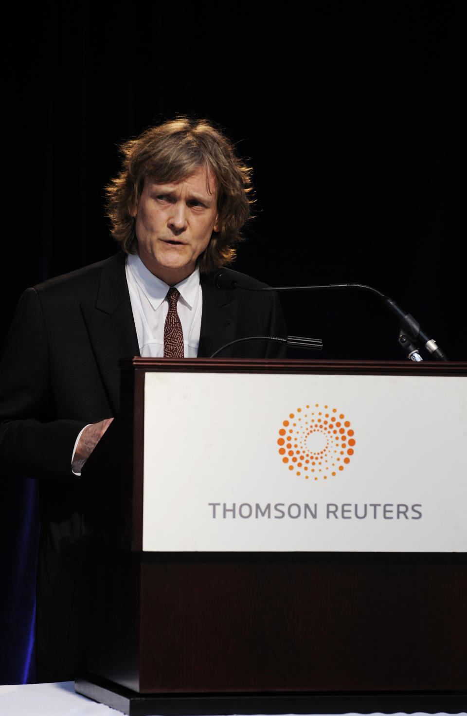 Thomson Reuters Chairman David Thomson speaks at the company's annual general meeting for shareholders