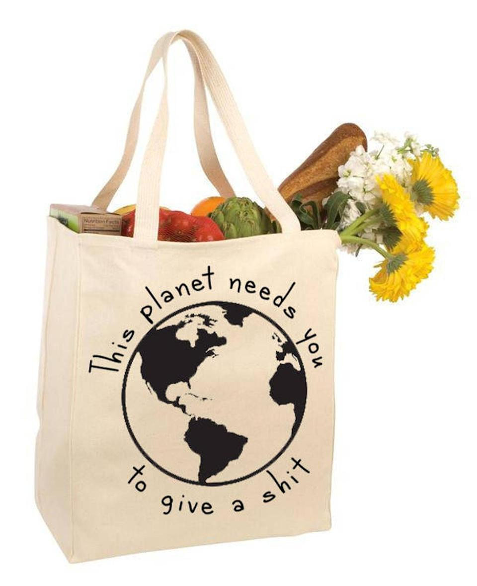<p>They'll make a difference and cause a few laughs using this <span>Reusable Grocery Tote Bag</span> ($12).</p>