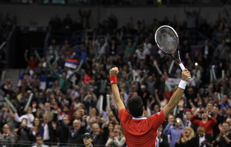 Novak Djokovic of Serbia celebrates after he won his Davis Cup finals tennis singles match against Czech Republic's Radek Stepanek, in Belgrade, Serbia, Friday, Nov. 15, 2013.(AP Photo/Darko Vojinovic)