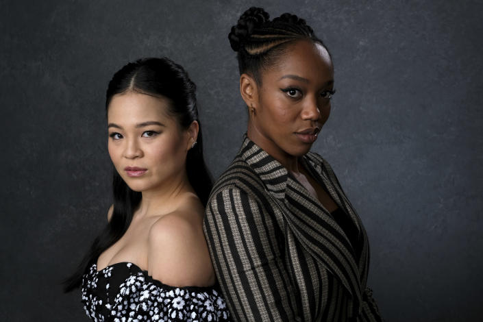 """This Dec. 3, 2019 photo shows Kelly Marie Tran, left, and Naomi Ackie posing for a portrait to promote their film """"Star Wars: The Rise of Skywalker"""" in Pasadena, Calif. (AP Photo/Chris Pizzello)"""