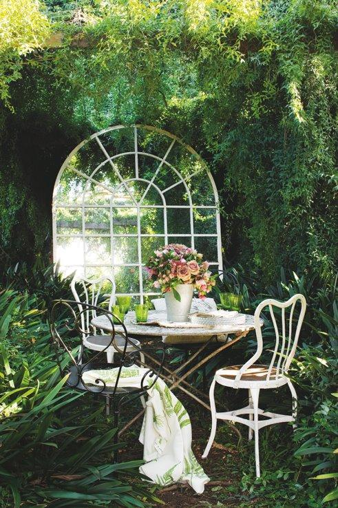 """<p>Create space, light and a magical secret garden effect by adding a few mirrors outside. <a href=""""http://gypsypurplehome.tumblr.com/post/19230627889/heartbeatoz-via-facebook"""" rel=""""nofollow noopener"""" target=""""_blank"""" data-ylk=""""slk:[Photo: GypsyPurpleHome]"""" class=""""link rapid-noclick-resp"""">[Photo: GypsyPurpleHome]</a> </p>"""