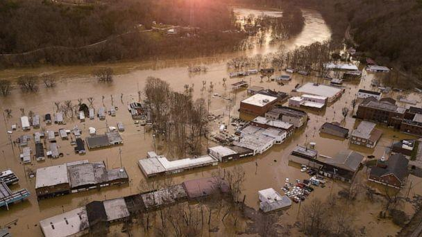 PHOTO: A view from above shows flooding in downtown Beattyville, Ky., March 1, 2021, after heavy rains led to the Kentucky River overflowing and breaking records last seen in 1957. (Courier Journal via USA Today Network)