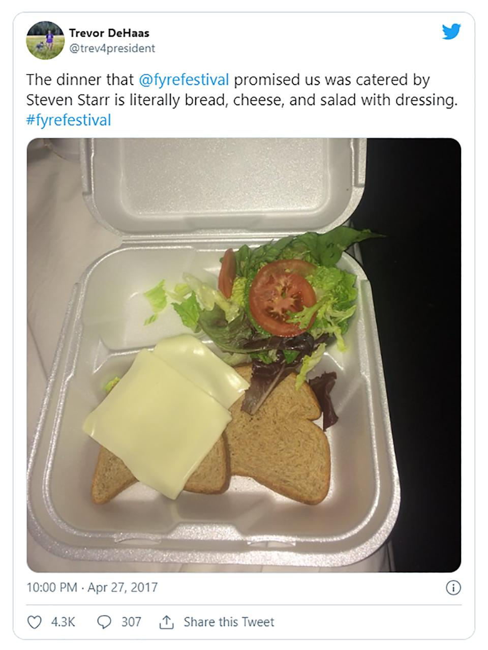 A tweet by Trevor DeHaas about a sandwich from Fyre Festival is pictured.