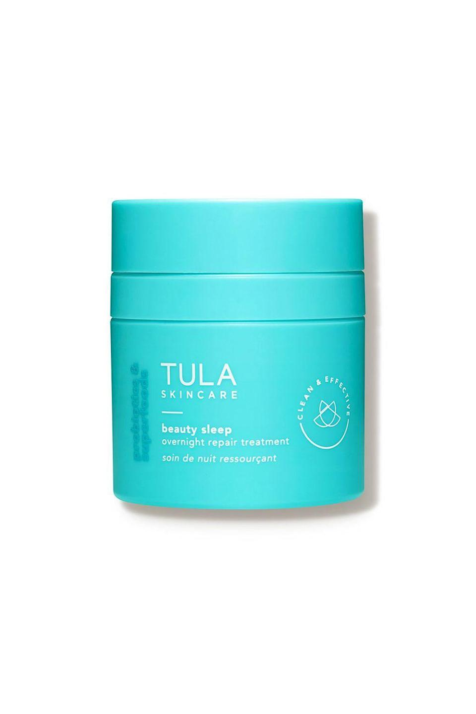 """<p><strong>Tula Skincare</strong></p><p>dermstore.com</p><p><strong>$64.00</strong></p><p><a href=""""https://go.redirectingat.com?id=74968X1596630&url=https%3A%2F%2Fwww.dermstore.com%2Fproduct_Beauty%2BSleep%2BOvernight%2BSkin%2BRepair%2BTreatment_69777.htm&sref=https%3A%2F%2Fwww.oprahdaily.com%2Fbeauty%2Fg28640223%2Fbest-night-cream%2F"""" rel=""""nofollow noopener"""" target=""""_blank"""" data-ylk=""""slk:Shop Now"""" class=""""link rapid-noclick-resp"""">Shop Now</a></p><p>What you won't find in this dreamy night treatment: Parabens, sulfates, phthalates, or formaldehyde—all of which can irritate sensitive skin. What you will find: A potent mix of vitamin C (to even skin tone) lactic and glycolic acids (to increase cell turnover and reduce the appearance of fine lines), and three probiotic strains (to moisturize), so you'll wake up with healthier, more hydrated skin.</p>"""