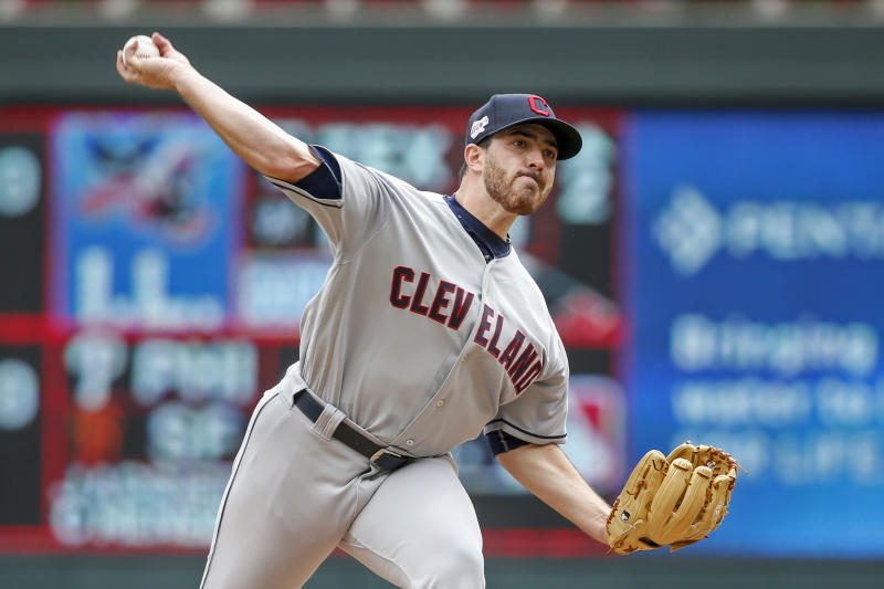 Cleveland Indians starting pitcher Aaron Civale
