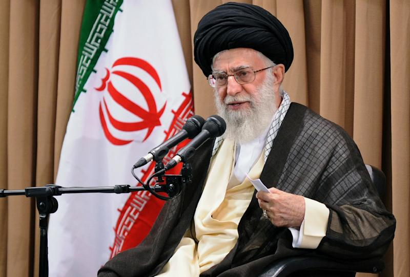 A handout photo provided by the office of Iran's supreme leader, shows Ayatollah Ali Khamenei addressing Iran's top officials during a meeting  in Tehran on June 23, 2015