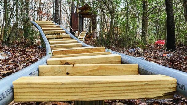 PHOTO: Jackson Crosskno, 19, of Canton, Ga., built an elaborate backyard roller coaster called the 'White Mountain Railroad.' (Courtesy of Jackson Crosskno)
