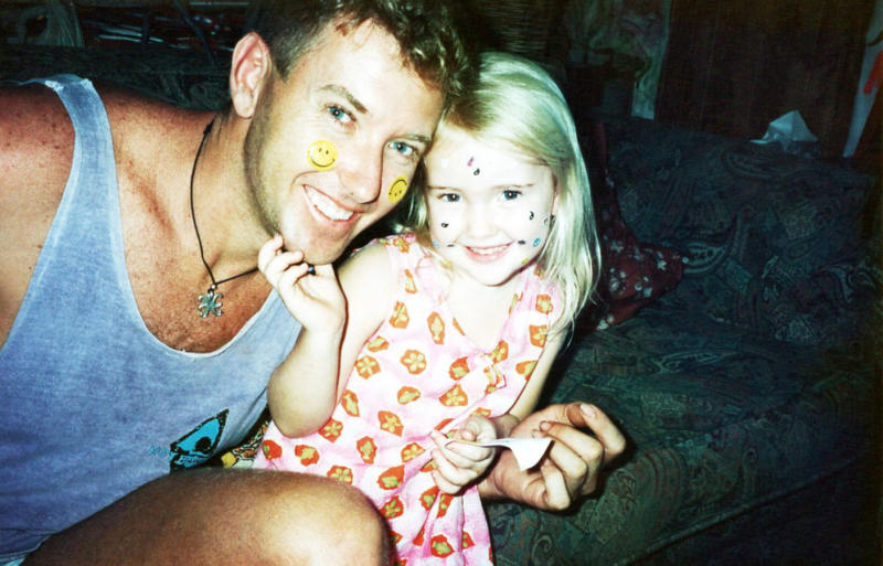 Troy Cordingley smiling with murdered daughter Toya as a little girl.